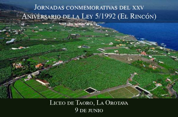 Jornadas conmemorativas del 25 aniversario de la Ley 5/1992 de ordenación de El Rincón